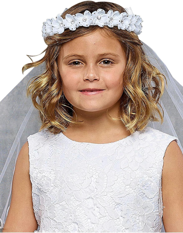 Girls Floral Crown First Communion Flower Girl Tiara Headpiece Veil Comb Bow