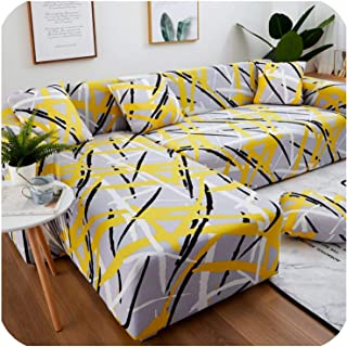 1/2 Pieces Sofa Cover Set Geometric Couch Cover Elastic Sofa Cover for Living Room Pets Corner L Shaped Chaise Longue Sofa Cover,Color 19,2-Seater 145-185cm