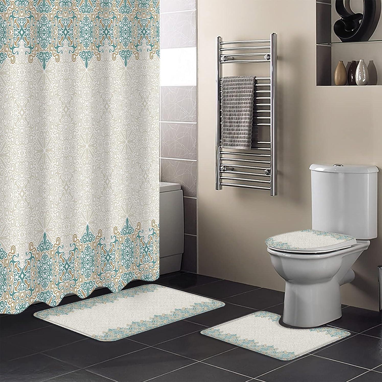 Spasm price Sailground 4 Piece Shower Curtain with Sets Toilet Non-Slip Max 59% OFF Rug