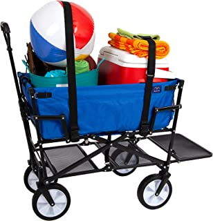 Mac Sports Double Decker Collapsible Outdoor Utility Wagon with Straps   Folding Pull Cart, for Sports Baseball Pool Camping Fishing, Collapsable Fold up Wagon with Wheels, Heavy Duty Steel Royal Blue