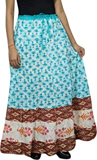 Mogul Interior Women's Maxi Skirt Floral Printed Cotton A-line Gypsy Hippie Long Skirt L Blue