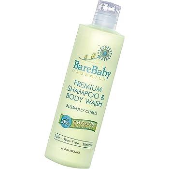 Organic Baby Shampoo & Body Wash with Aloe, Cucumber, Citrus Essential Oils – Safe, Gentle, Tear Free – Eczema Friendly – Paraben, Dye, Gluten, and Sulfate Free – 17.9 oz