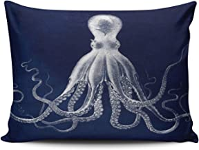 ONGING Decorative Pillowcases Navy Nautical Octopus Customizable Cushion Rectangle Standard Size 16x24 Inch Throw Pillow Cover Case Hidden Zipper One Side Design Printed