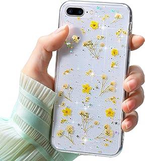 Funda Compatible con iPhone 7/8 Plus,Carcasa Suave Transparente Proteccion Silicona TPU Flor Real Flores Secas Bling Brill...