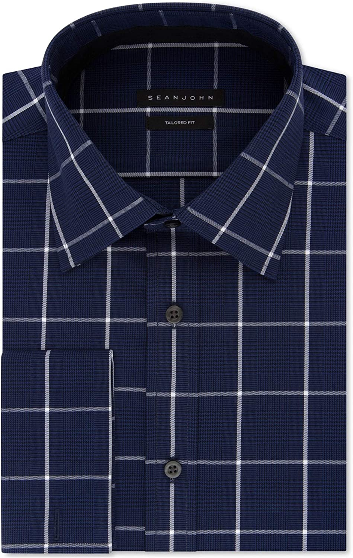 Sean John Mens Tailored Fit Stretch Check Button Up Dress Shirt Navy 14.5
