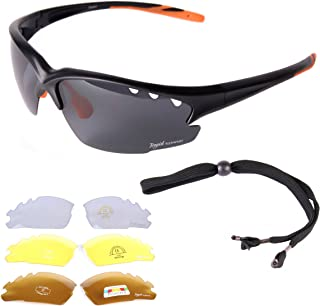 Womens & Mens Black CYCLING SUNGLASSES With Interchangeable Polarized UV400 Anti Glare Lenses. Also Ideal Glasses For Athletics, Running, Jogging & Triathlons