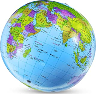 Mundo Inflable Tierra Inflable Globo de Mundo Inflable Bola de Ayuda de Educación de Profesor de Geografía Globo Inflable para Juego de Playa Piscina o Hogar Oficina Escritorio Herramienta Educativa