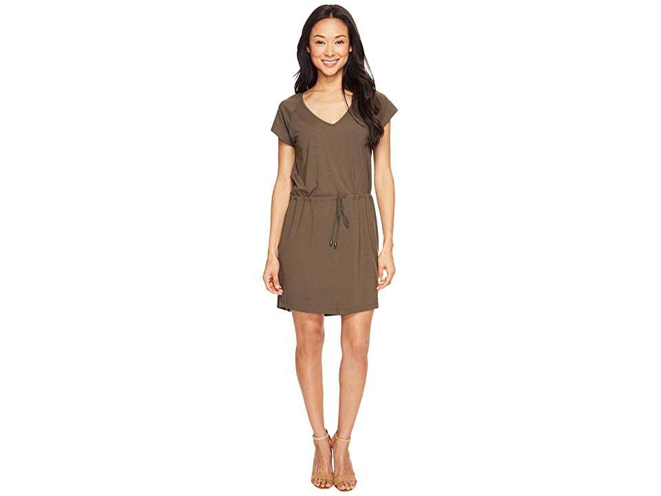 Lilla P Short Sleeve V-Neck Dress (Moss) Women