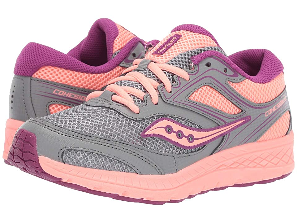 Saucony Kids Cohesion 12 LTT (Big Kid) (Grey/Coral) Girls Shoes