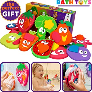 Bathtub Toys for Toddlers - Foam Bath Puzzles for Kids - Fun Baby Educational Toy Girls Boys Preschoolers - Fine Motor Skills - Early Learning Tub Stickers Shower Fruits Set (12 Puzzles + 12 Shapes)