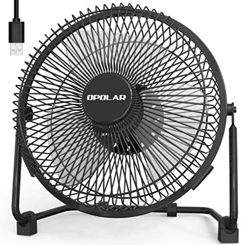 OPOLAR 9 Inch Metal Desk Fan, Enhanced Airflow, Lower Noise, USB Powered ONLY, Two Speeds, Perfect Personal Cooling F...