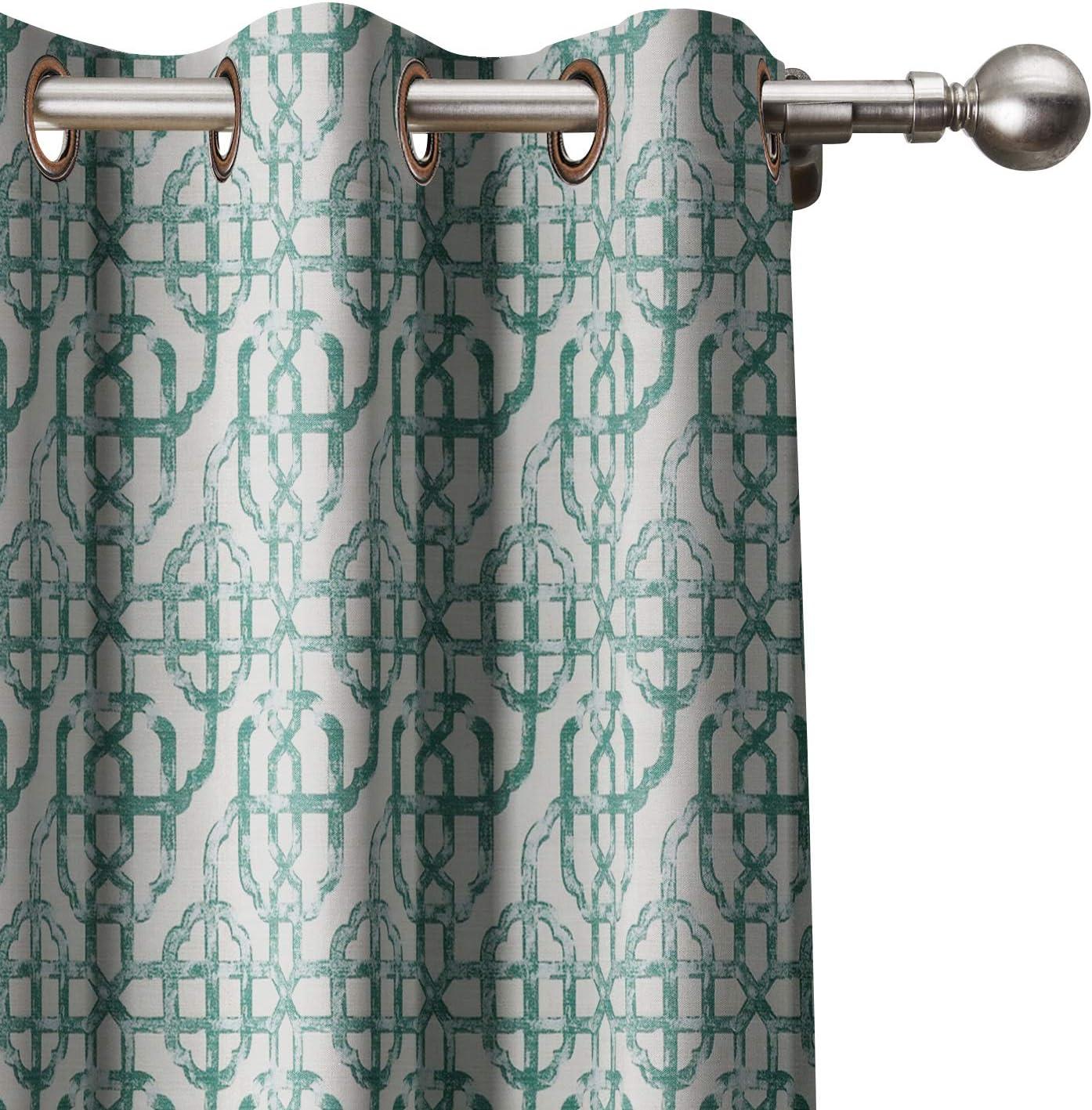 Polyester Tulsa Mall Linen Blend Curtain Geometric Max 44% OFF Cu Window Trellis Print