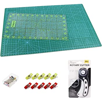 KEAYOO 45mm Rotary Cutter Quilting Kit,Quilting Supplies,A3 Cutting Mat Set of 6 (Ruler in inches),Ideal for Crafting, Sewing, Patchworking, Crochet & Knitting