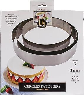 LILY COOK KP5350 Cadre Pâtissier rond Inox Argent - 3 Pcs : diam 26 cm; diam 23 cm; diam 20,5 cm