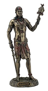 "Ellugua- God of Travelers, Crossroads, and Fortune, Bronze, Red, Black, 8 7/8"""