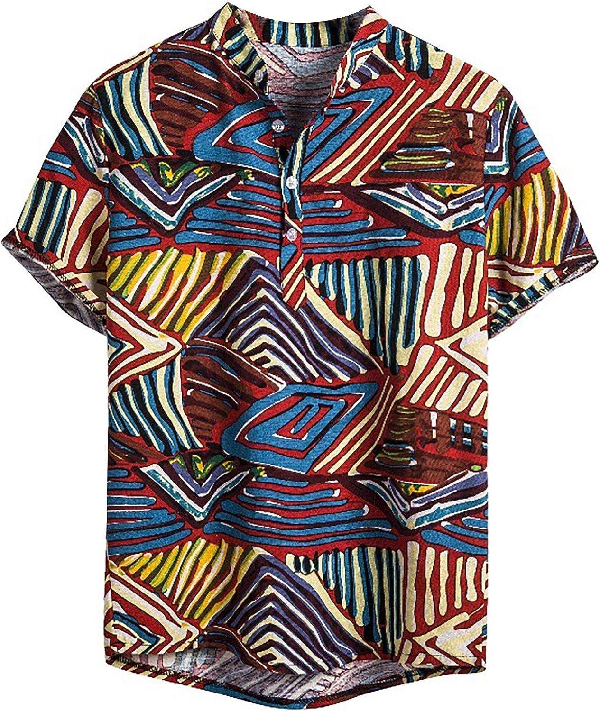 Wohelen Hawaiian Shirts for Men Funny Stripe Casual Summer Short Sleeve Tropical Boho Button-Down Shirts
