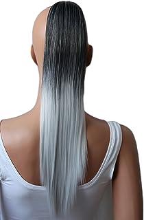PRETTYSHOP Clip de en las extensiones postizos extensiones de cabello pelo liso largo hechos de fibras sintéticas resistentes al calor 50cm ombre gris negro # 1Tgray H111