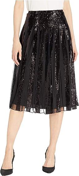 Sequin-Stripe Tulle Skirt