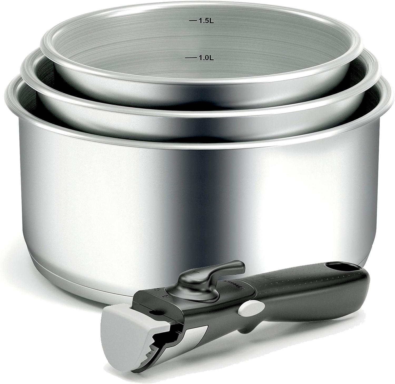 Backen 191199-set de casseroles-4piezas Inducción, Acero inoxidable, inoxidable, 16x 18x 20cm