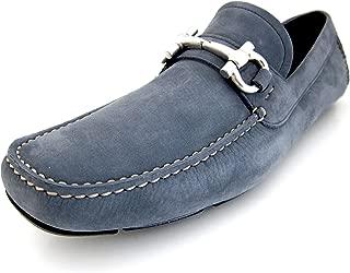 Salvatore Ferragamo Parigi Mens Blue Loafers Suede Shoes Made in Italy