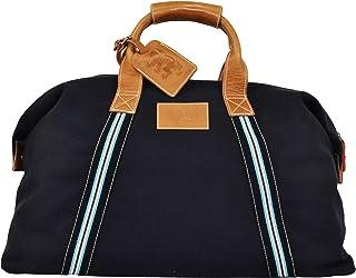 Pringle Reisetasche aus Segeltuch blau Henkel und acc. Leder 55 x 28 x 30