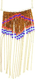Magic Metal Beaded Chain Fringe Necklace Gold Tone NU13 Southwestern Tribal Fashion Jewelry
