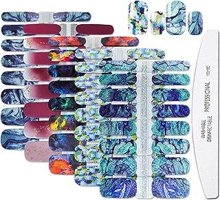 WOKOTO 5 Sheets Gradient Design Adhesive Nail Art Polish Stickers Strips Set With 1Pc Nail File Full Wraps Nail Decals Man...