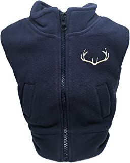 Creative Knitwear Navy Polar Fleece Zippered Vest - Infant/Toddler with Embroidered Antlers