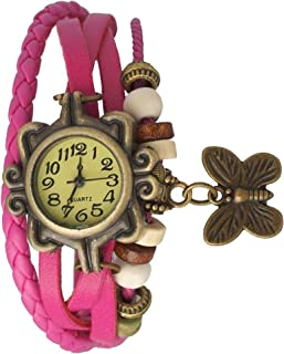 Snapcrowd Butterfly Leather Dori Strap Casual and Formal Quartz Movement Analogue Yellow Dial Women's Wrist Watch