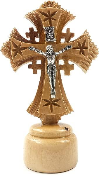 Jesus INRI Carved Cross Olive Wood Crucifix Statue Figure Jerusalem Holy Land