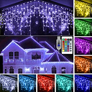 KNONEW 16 Colors Changing Icicle Light 16ft 160 LED Lights with Remote, USB Powered Fairy Icicle String Lights for Christmas Halloween Birthday Wedding Party Waterproof Outdoor Indoor Decoration