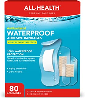 All Health Clear Antibacterial Waterproof Adhesive Bandages, Assorted Sizes, 80Count