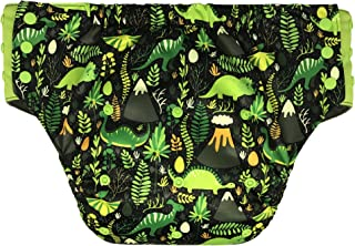 Adult Pull On Diaper with Tabs - Large Reusable Incontinence Briefs for Women or Men (Extended, Jurassic Park)