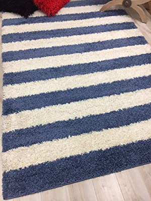 Shed Free Shaggy Area Rugs Contemporary Abstract Stripped Pattern Soft Ocean Blue and White