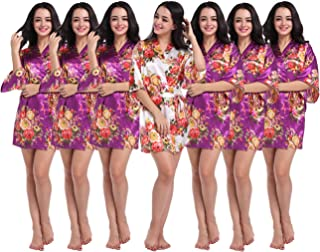 Set of 4-10 Women's Kimono Floral Robes for Bride and Bridesmaid Wedding Party Satin Robes Short