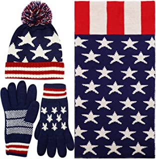 Women's Adult USA American Flag Star Print Red White Knitted Hat Beanie Scarf Gloves Set