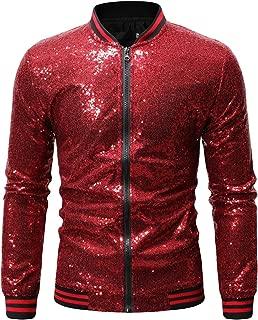 Men's Zip Up Mermaid Sequin Lightweight Shiny Clubwear Bomber Jacket