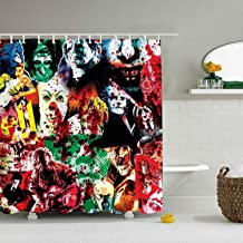 Horror Movie Videotape Collage Microfiber Shower Curtain, 65 x 72 inch