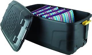 Strata HTC-STR-751 145 Litres Storage Box With Wheels, Black, 94 x 52 x 45 cm
