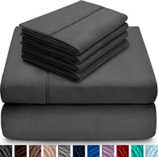 Bare Home 6 Piece 1800 Collection Deep Pocket Bed Sheet Set - Ultra-Soft Hypoallergenic - 2 Extra Pillow Cases (Queen, Grey)