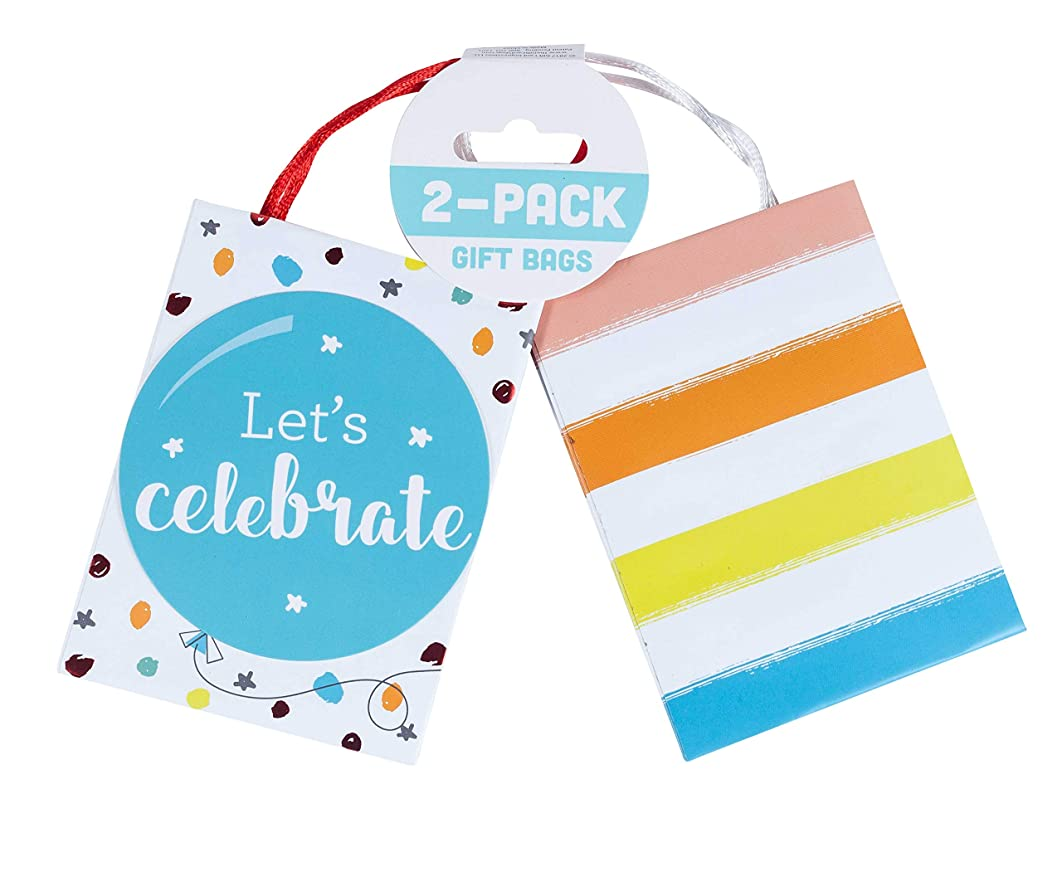 Wrap IT Party Favor Mini Gift Bags with Handles, 2 Per Pack - 4 x 3 x 1.5 Inches -Let's Celebrate, 3-Pack (6 Bags)