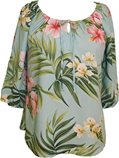 RJC Womens Pale Hibiscus Orchid Peasant Blouse