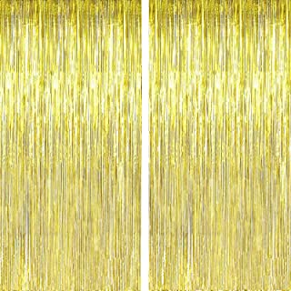 FECEDY 2pcs 3ft x 8.3ft Gold Metallic Tinsel Foil Fringe Curtains Photo Booth Props for Birthday Wedding Engagement Bridal...