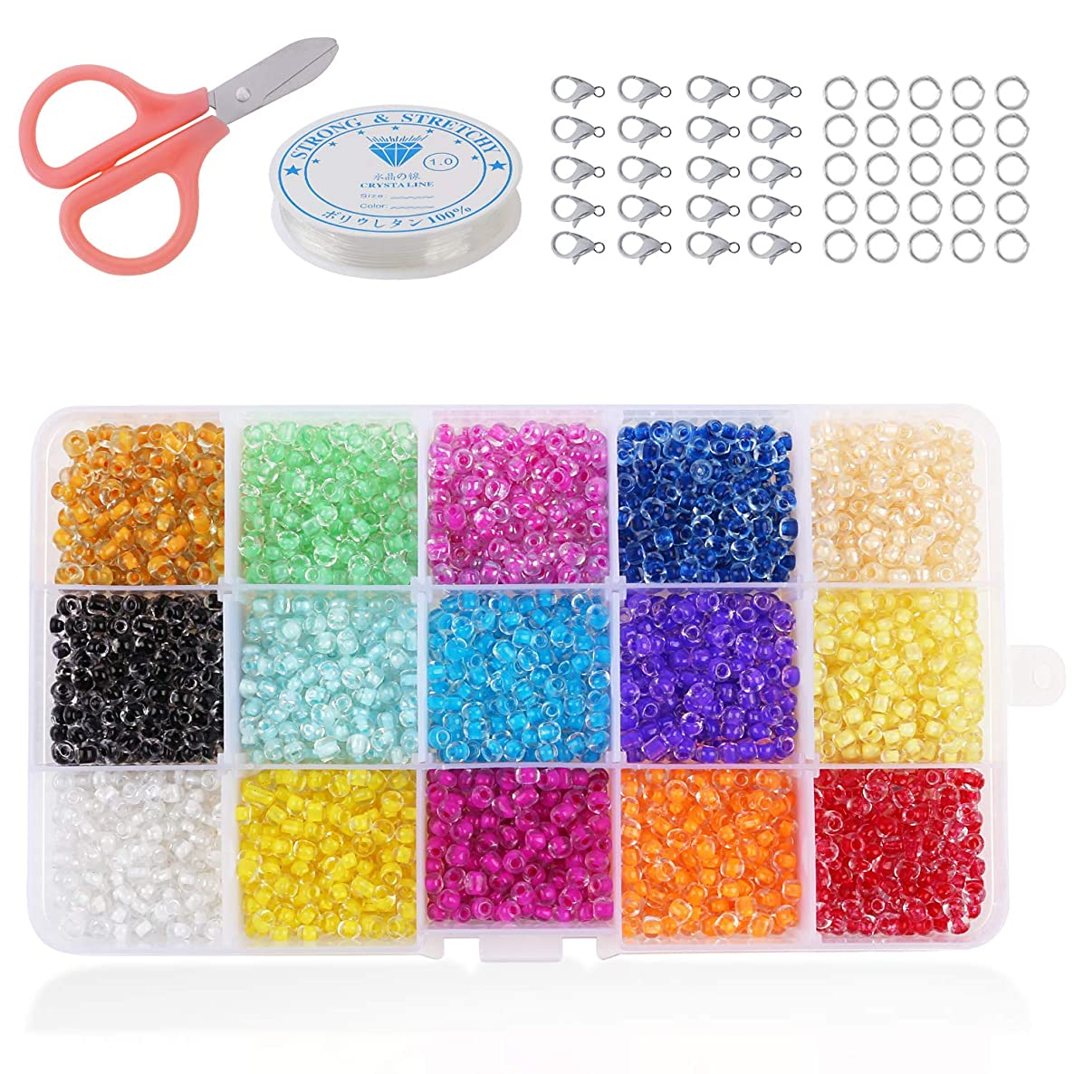 Phogary 9000pcs Glass Seed Beads, Mixed Colors Small Pony Beads Assorted Kit Multi Colors Lustered Loose Spacer Beads, 3mm Round, Hole 1.0mm for Jewelry Making, DIY Crafting (15 Colors)