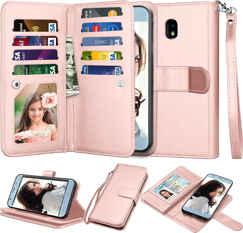 NJJEX Wallet Case for Galaxy J7 2018/J7 Refine/J7 V 2nd Gen/J7 Aero/J7 Aura/J7 Top/J7 Crown/J7 Eon/J7 Star, PU Leather Card Slots Holder Kickstand Flip Cover & Lanyard for Samsung J7 Star [Rosegold]