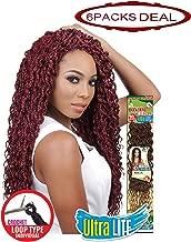 EVE HAIR African Nature Braid - Individual Crochet - Kanekalon Toyokalon & Premium Fiber Blended Ultra Lite Box Braid Curly Braiding Hair - 20 Inches - Color: 1 (Pack of 6)