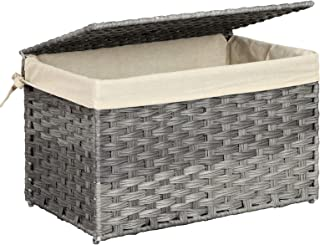 SONGMICS Storage Chest with Lid, Storage Trunk with Cotton Liner and Metal Frame, Storage Basket Decorative Bin for Bedroom Closet Laundry Room, Rattan-Style, 21.9 x 13.4 x 13.4 Inches, Gray URST56WG