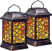 TomCare Solar Lights Metal Solar Lantern Flickering Flame Outdoor Hanging Lanterns Lighting Heavy Duty Waterproof Solar Po...