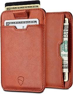 CHELSEA Slim Minimalist Leather Wallet for Men with RFID Blocking, Front Pocket Credit Card Holder (Cognac)