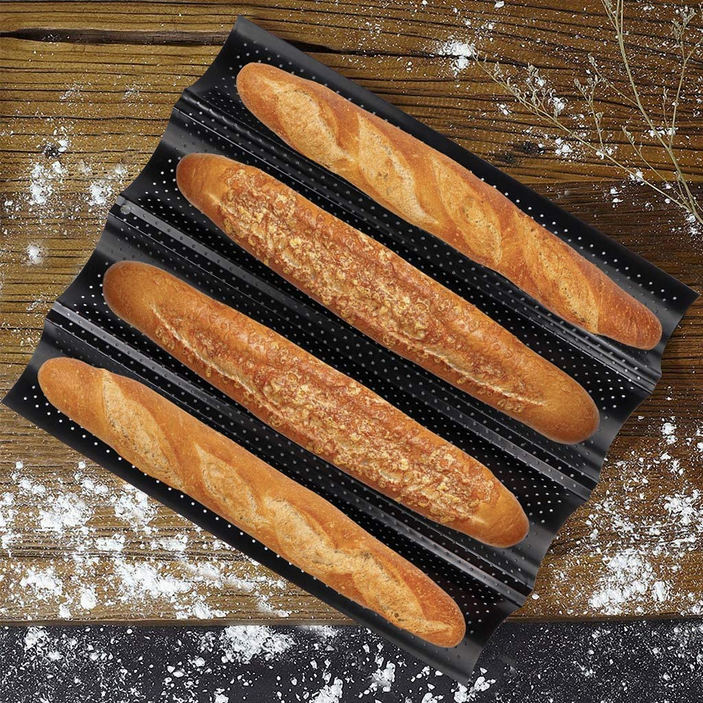 Baguette Baking Tray Perforated French Stick Loaf Baking Molds Pan for 4 Wave Loaves Baguettes with 2 Pcs Silicone Pot Holder Mittens for Home Kitchen Indoor 2 Pack 4 Wave Loaves, Black